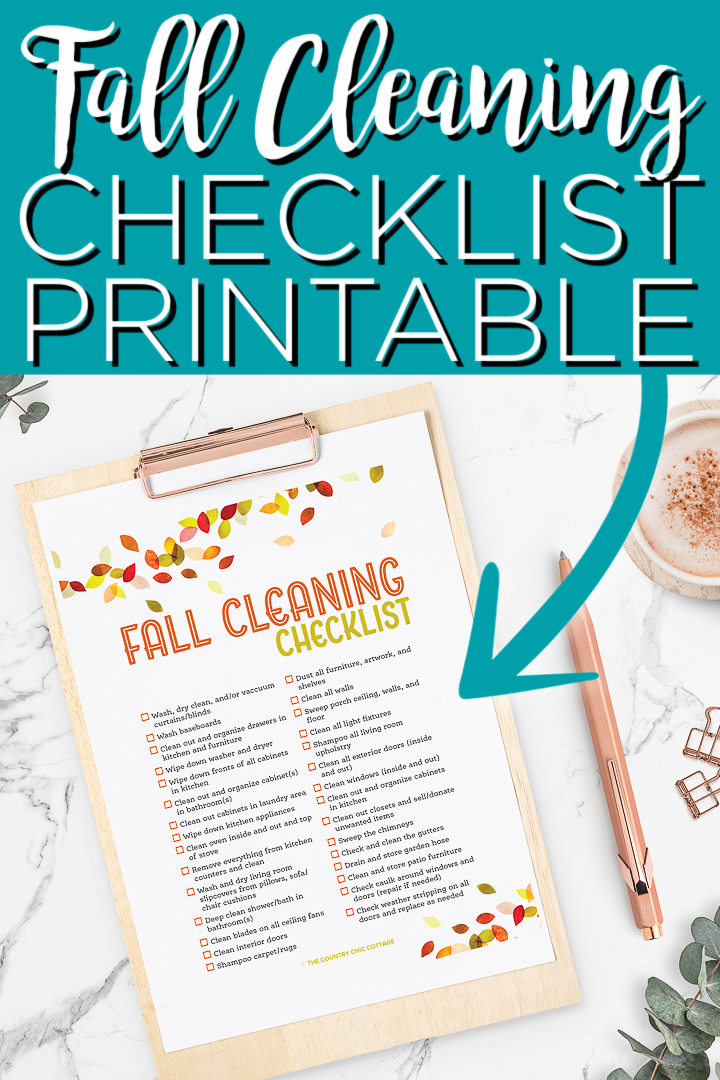 This fall cleaning checklist will help you to get your home in shape for the holiday season! Print off then check off the items as you go! #fallcleaning #fall #printable #freeprintable