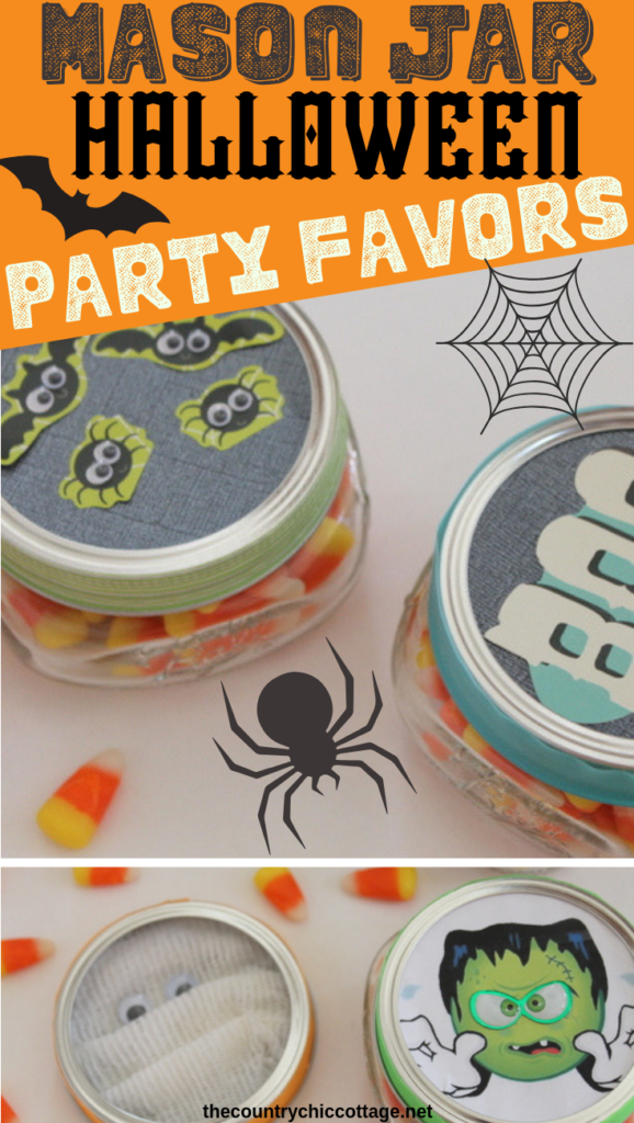 Make these Halloween party favors in mason jars! The kids will love these cute topped jars filled with treats at any fall party that you are hosting! #halloween #party #partyfavors #masonjars