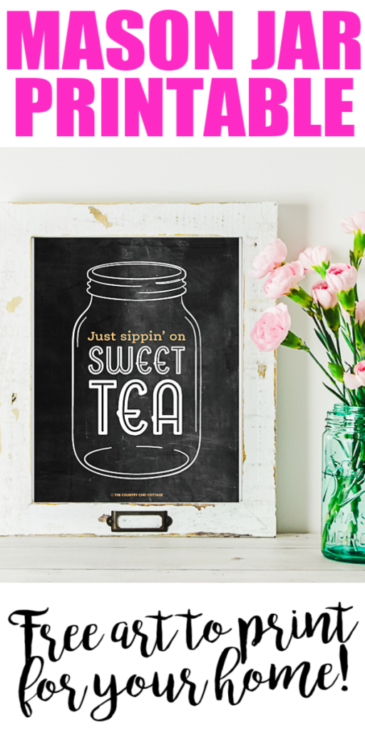 Grab this mason jar chalkboard art free printable for your home! This cute printable art is perfect for any room especially if you love sipping on sweet tea! #masonjar #sweettea #printable #freeprintable #printableart
