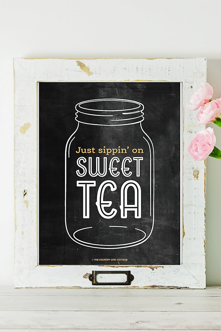 just sippin on sweet tea printable art