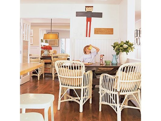 wicker chairs in kitchen