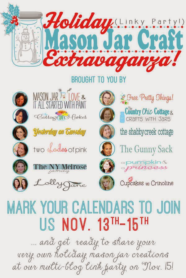 Holiday Mason Jar Craft Extravaganza -- tons of holiday mason jars and a linky party to link up your own mason jar crafts. Don't miss it!