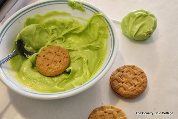 green candy melts and cookies