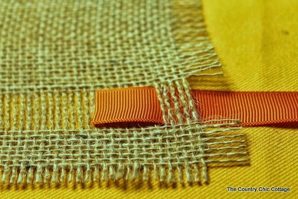 ribbon going through burlap