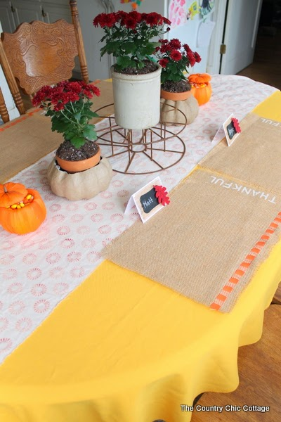 front view of burlap fall placemats on table