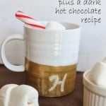 diy gold glitter monogram mug plus a dark hot chocolate recipe