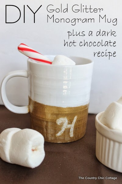 DIY gold glitter monogram mug tutorial and a dark hot chocolate recipe you don't want to miss! One pinner says it is the best hot chocolate she has ever tasted!
