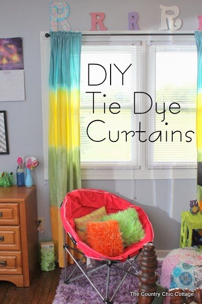 DIY Tie Dye Curtains -- learn how to make your own striped tie dye curtains in any color of the rainbow.