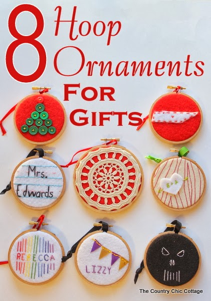 Handmade Gift Idea: 8 hoop ornaments that can be given as gifts this year. Ideas for everyone on your Christmas list.