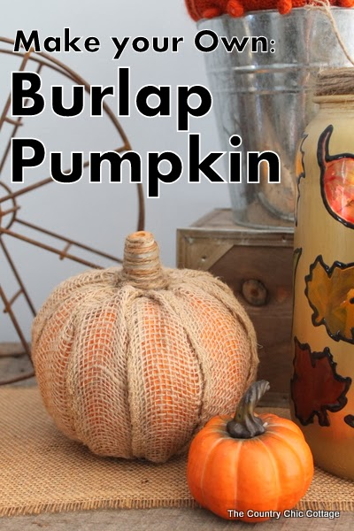 How to take a dollar store pumpkin and turn it into a rustic, creative Fall decor piece! Here's how to make DIY burlap pumpkins