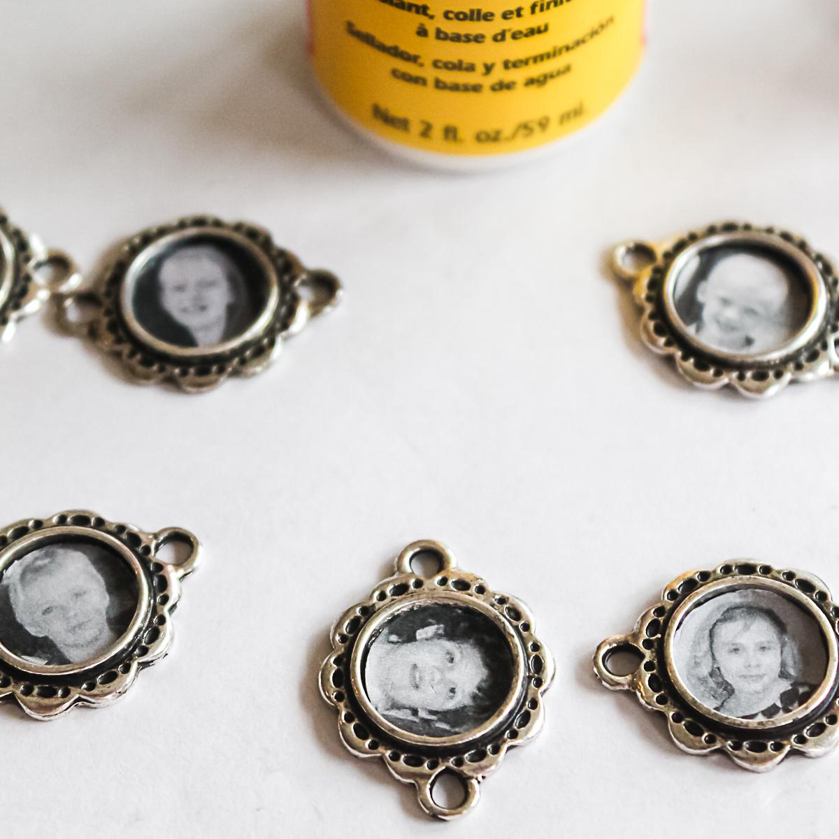 sealing photos for a charm bracelet