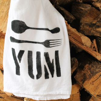 DIY Stenciled Dish Towel Handmade Gift Idea
