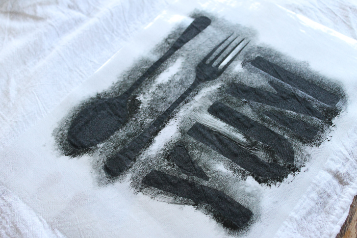 stenciled dish towel