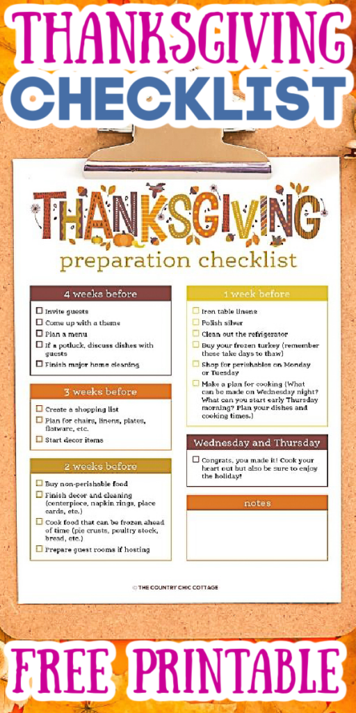 Print this free Thanksgiving checklist and use it to plan your holidays! From decor to dinner, we have you covered so the holiday does not sneak up on you! #Thanksgiving #checklist #printable #freeprintable