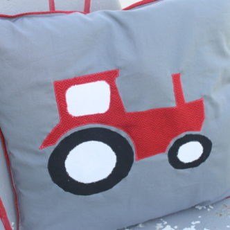 Handmade Gift — Tractor Applique Pillow