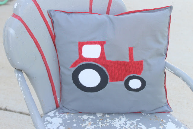 Tractor Applique Pillow -- see how to make this great pillow for your little guy!