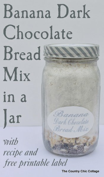 banana dark chocolate bread mix in a jar