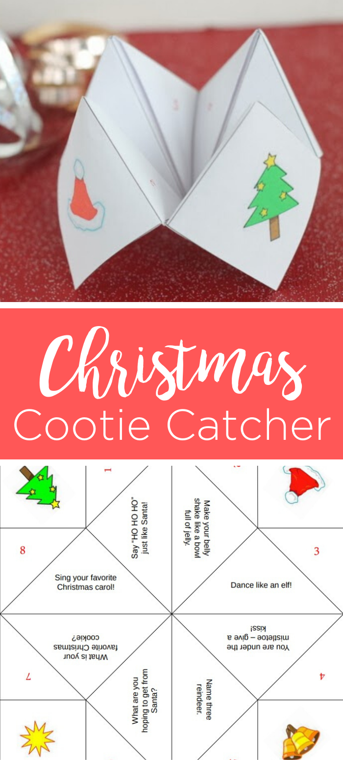 Grab this free printable Christmas cootie catcher for your little ones this holiday season! The kids will love playing with this fortune teller! #christmas #holidays #kids #cootiecatcher #fortuneteller #freeprintable #printable