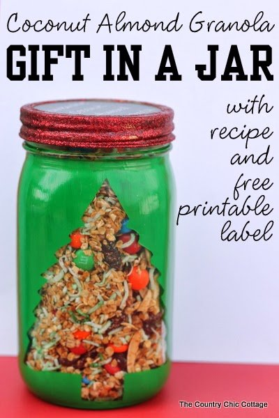 coconut almond granola gift in a jar
