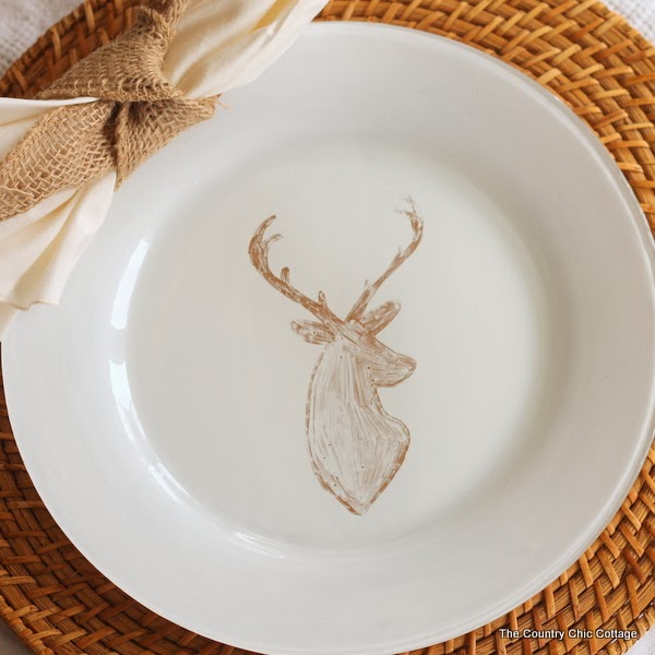 DIY Deer Painted Plates - The Country Chic Cottage