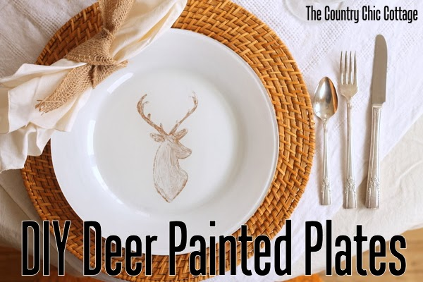 DIY Deer Painted Plates -- a quick 10 minute way to make gorgeous custom designed plates with a sharpie and paint!