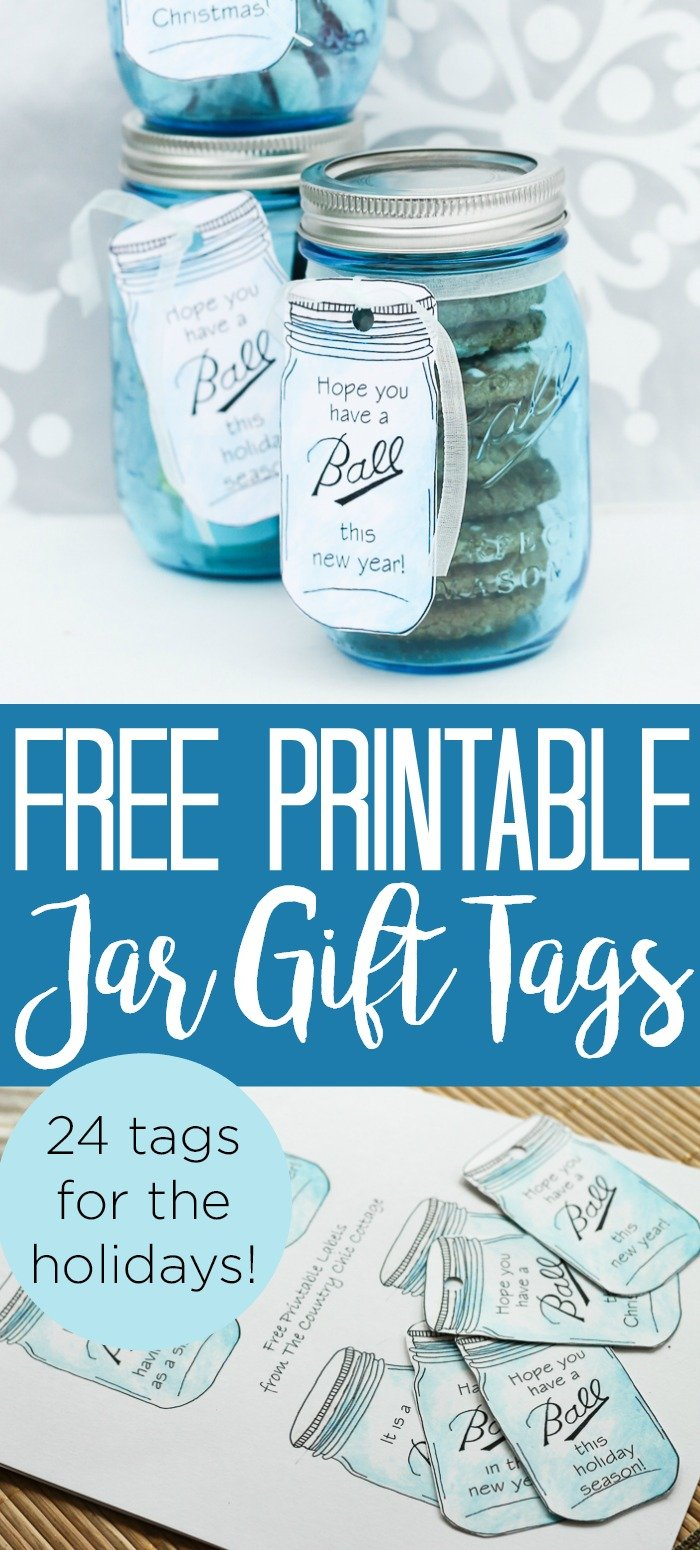 Print these Ball mason jar gift tags for the holidays! Tags for Christmas, New Years, and everyone on your gift-giving list! A total of 24 free printable gift tags! #christmas #holidays #masonjar #balljar #gifttags #giftgiving #freeprintable #printable #jar #bluejar #giftinajar #giftidea #christmasgift