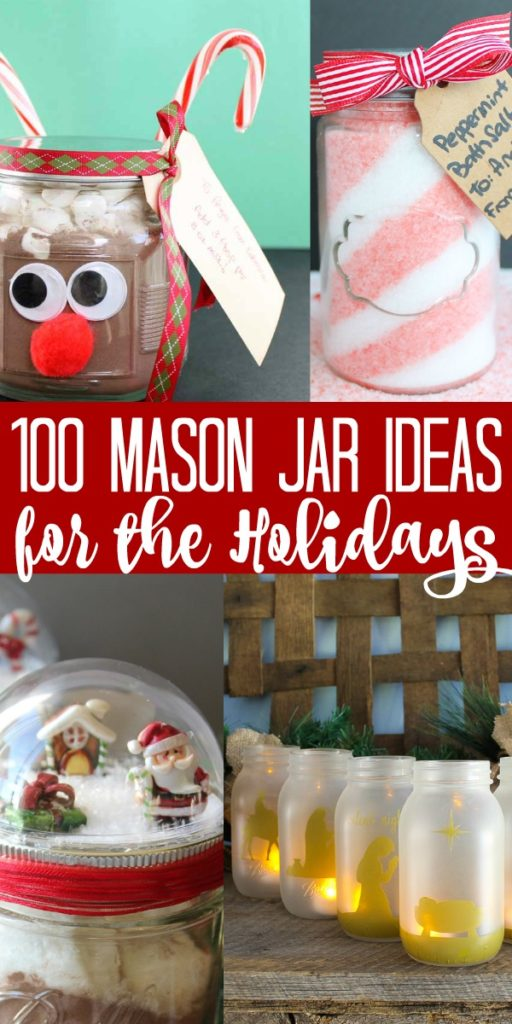 Your ultimate guide to over 100 Christmas mason jar creations that everyone will love! You will find holiday mason jar crafts to make for yourself as well as gifts! #christmas #holidays #masonjars #masonjarcrafts #crafts