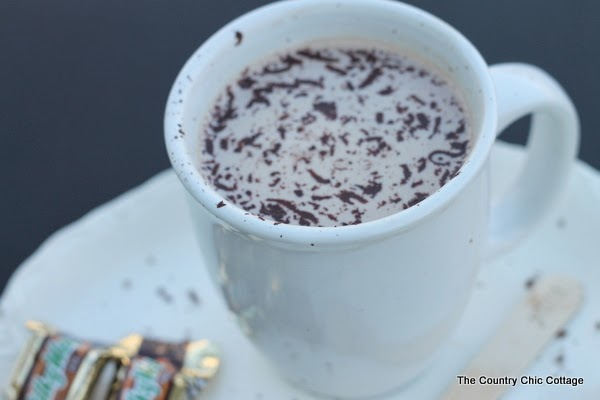Milky Way Hot Chocolate Recipe -- melt Milky Way candy bars into milk for a delectable warm winter beverage! One pinner says it is heaven in a mug!