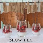 snow and cranberries centerpiece