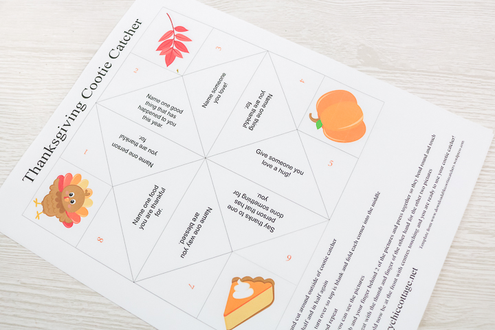 printable cootie catcher for thanksgiving