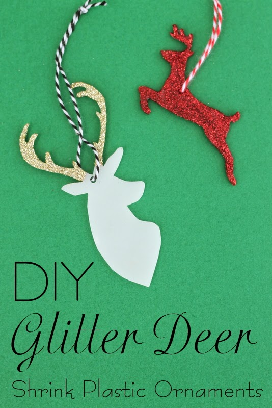 DIY Glitter Deer Shrink Plastic Ornaments -- a quick and easy ornament tutorial to show you how to make these great glitter deer.