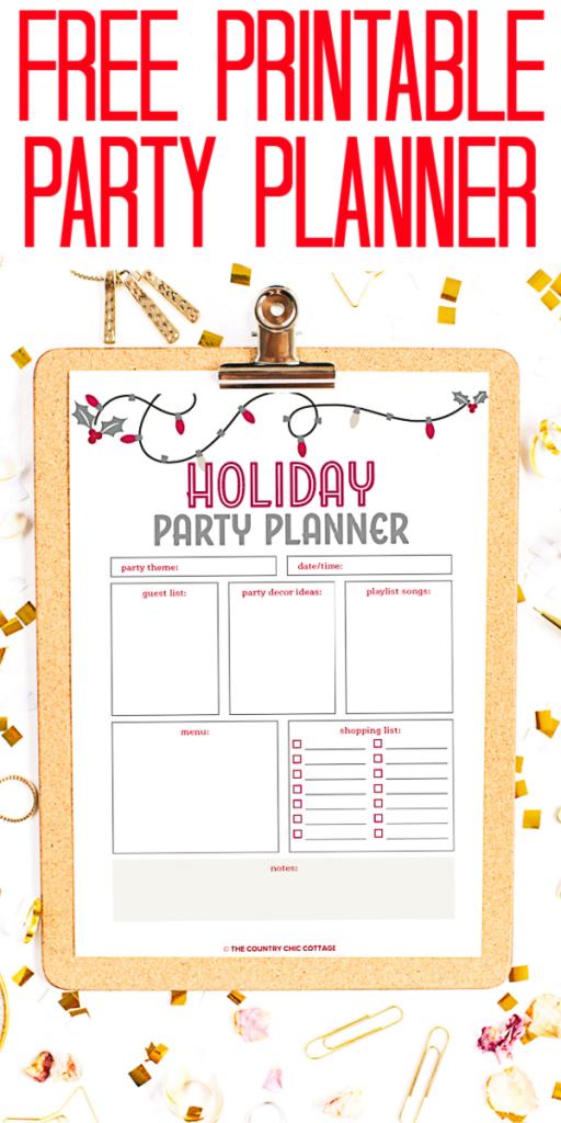 Use this free printable party planner to plan all of your holiday parties! This useful sheet will help you to stay organized when planning a party! #partyplanner #holidayparty #party #printable #freeprintable