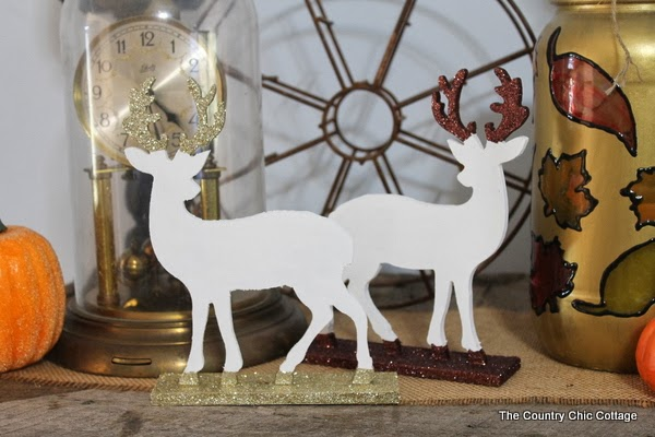Glitter Dipped Deer Silhouettes -- perfect for your home in any season learn how to make this deer decor for your home. Click on the picture to head to the craft tutorial.
