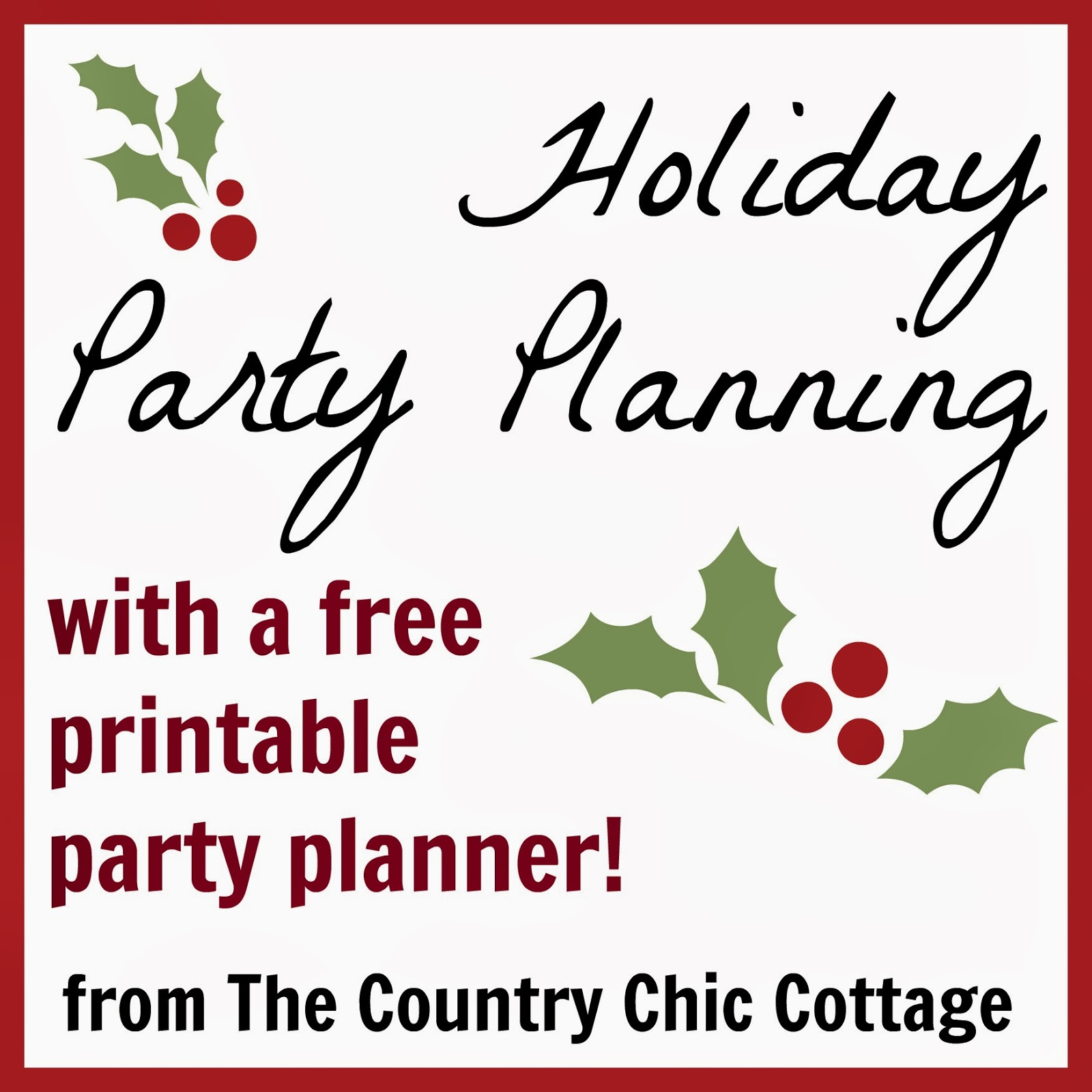 Holiday Party Planning -- come get help with your holiday party planning including a free printable holiday party planner.