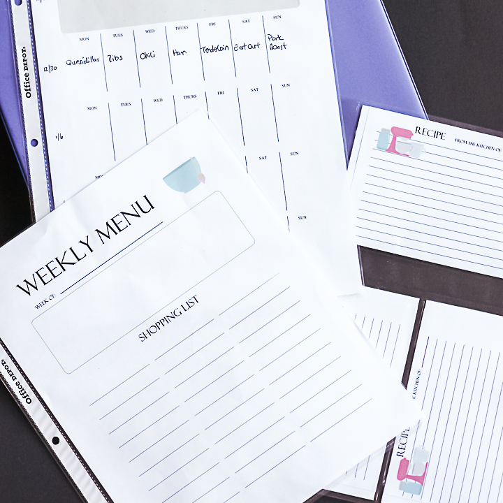 menu planning binder system