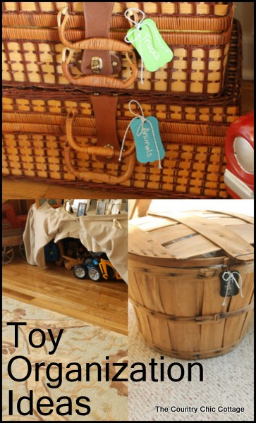 Toy Organization Ideas -- great ideas for organizing and hiding the toys in plain sight.