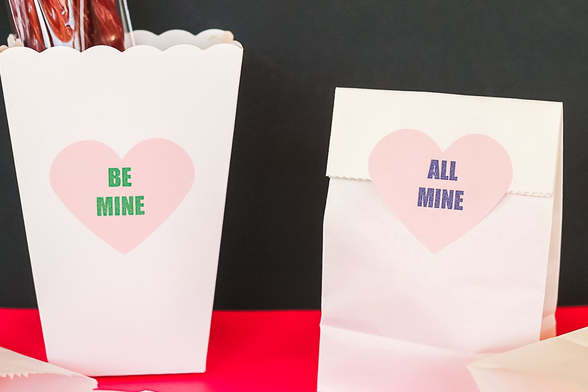 printable treat labels on valentine's day themed bags