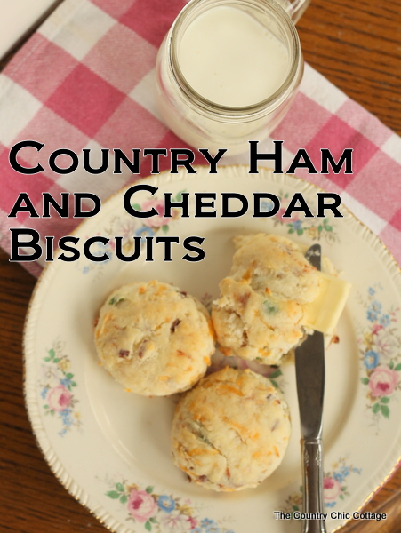 Country Ham and Cheddar Biscuits -- perfect for breakfast or anytime of the day. These also make a great finger food for parties!