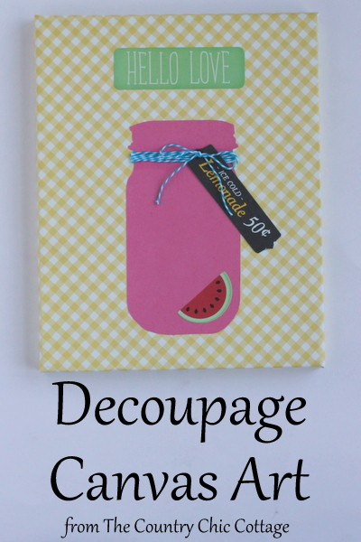 Decoupage Canvas Art -- grab some paper and decoupage to make your own fun art quickly.