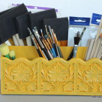 Paint Brush Organizer from the Thrift Store