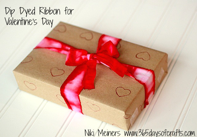 Dip Dyed Ribbon for Valentine's Day Gift Packaging -- add an extra special handmade touch to your gift wrap this Valentine's Day.