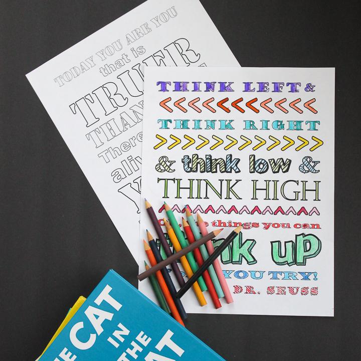 dr seuss quotes coloring sheets