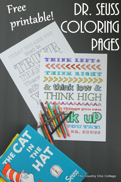 Free printable Dr. Seuss coloring pages to print for Read Across America Day!