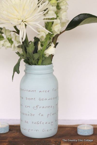 French Script Mason Jar Vase -- a great DIY wedding idea!