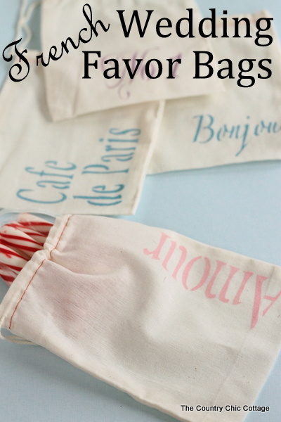 French Wedding Favor Bags -- make these stenciled favor bags in just a few minutes.