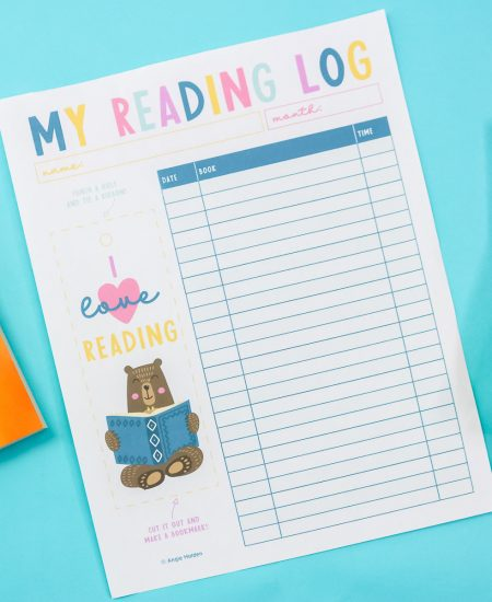 reading log and bookmark