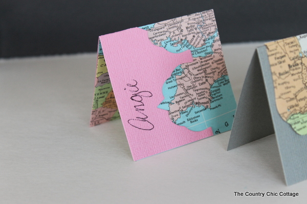 Recycled Map Placecards -- make placecards for your next party or a wedding from recycled maps with these great ideas.