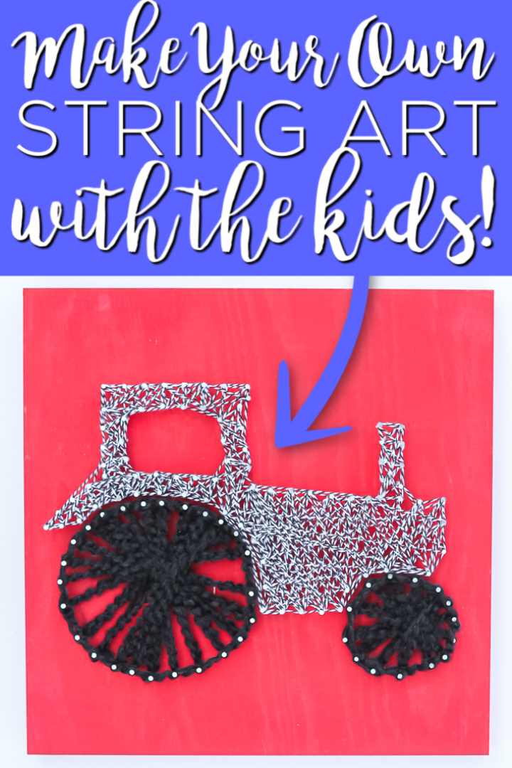 Make this DIY string art with your kids! This easy craft idea will keep them busy wrapping string around nails to create a cute picture they can hang in their rooms! #stringart #kidscrafts #kids