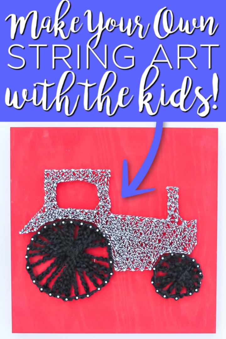Faites ce bricolage avec vos enfants! Cette idée d'artisanat facile les gardera occupés à enrouler de la ficelle autour des ongles pour créer une jolie image qu'ils pourront accrocher dans leur chambre! #stringart #kidscrafts #kids
