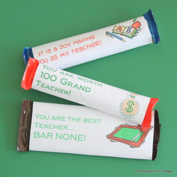 Candy Bar Wrappers to print for Teacher Appreciation Day